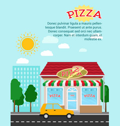 pizza advertising banner with shop building vector image