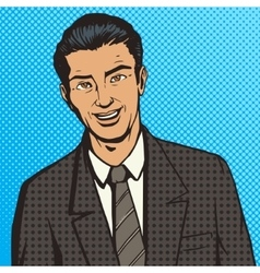 Successful businessman pop art style vector image vector image