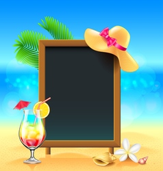 Summer vacation background with cocktail and menu vector