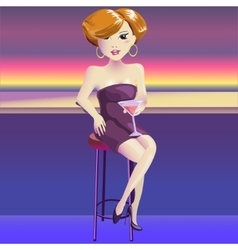 Woman vamp with glass of vine vector image