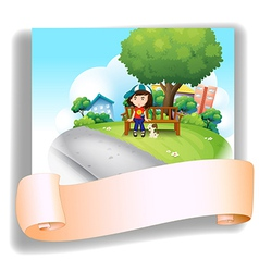 A girl at the bench with her pet at the back of an vector image vector image