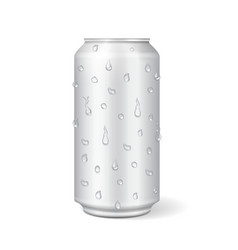 aluminum can with water drops realistic vector image