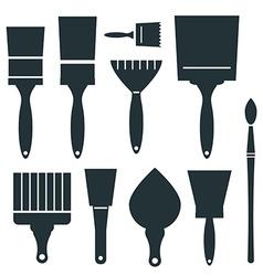 Brushes Icons Set - Brush Isolated on White vector image
