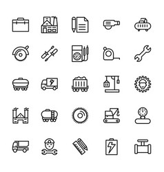 Industrial line icons 3 vector