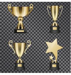 Realistic golden trophy cups set vector