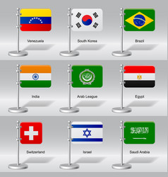 set of world table flags vector image vector image