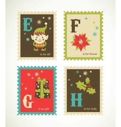 Christmas retro alphabet with cute icons vector image