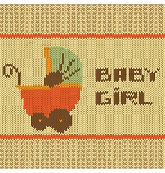 knitted baby girl shower announcement card vector image