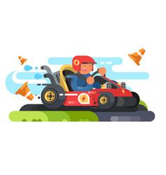 man riding karting design flat vector image vector image