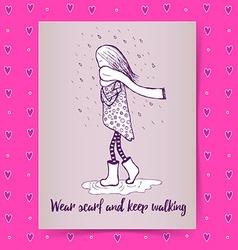 Sketch girl walking in rain vector image