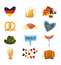 traditional symbols of the oktoberfest icons set vector image