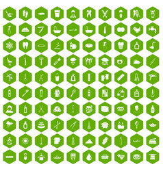 100 hygiene icons hexagon green vector