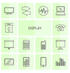 14 display icons vector image