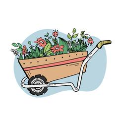 A garden wheelbarrow with plants and flowers vector