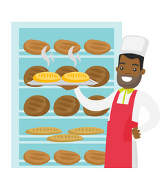 african-american baker holding tray with bread vector image