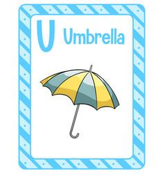 Alphabet flashcard with letter u for umbrella vector