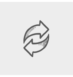 Arrows with left and right direction sketch icon vector