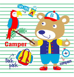 bear camping with a bird cute vector image