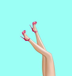Beautiful smooth woman legs in a high heels vector