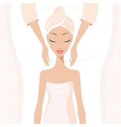 Beautiful young woman relaxing at spa salon Face vector image