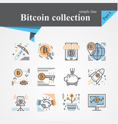 bitcoin outline and flat trendy icon set vector image
