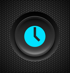 black button with blue timer sign on carbon vector image