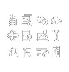 business and technology icons software program vector image