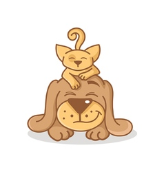 cartoon cat and dog vector image