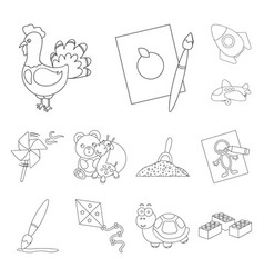 Children toy outline icons in set collection vector