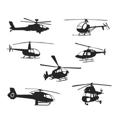 collection of silhouettes of various helicopter vector image
