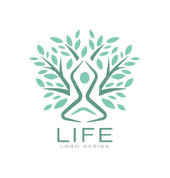 creative flat life logo with abstract human vector image