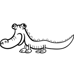 Crocodile cartoon coloring page vector