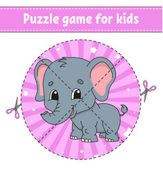 Cut and play logic puzzle for kids education vector