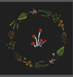 Dark stylized colorful wreath with icon vector