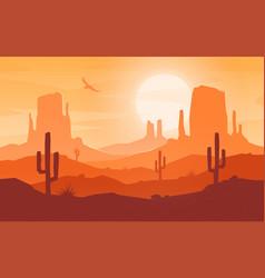 daytime cartoon flat style desert landscape vector image