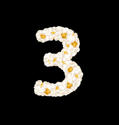 Digit 3 made up airy popcorn vector