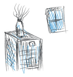 drawing an inside home window and a bottled vector image