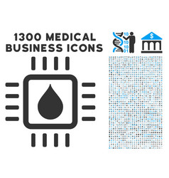 drop test chip icon with 1300 medical business vector image