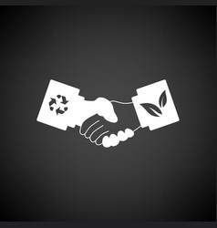 Ecological handshakes icon vector