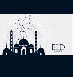 Eid mubarak festival mosque greeting background vector
