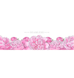 Elegant pink peonies border seamless pattern vector