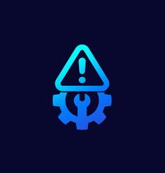 error warning icon with gear vector image