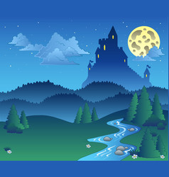 fairy tale landscape at night 1 vector image