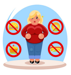 Fat female diet character health refusal junk food vector