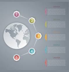 five steps 3d infographic template with world map vector image