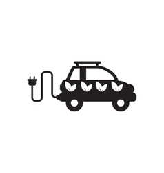 Flat icon in black and white eco car vector