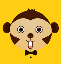 flat image of monkey face on yellow background vector image
