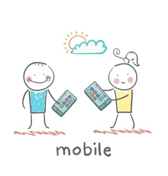 Girl and boy with mobile phones vector