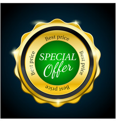 gold premium special offer sale badge green vector image