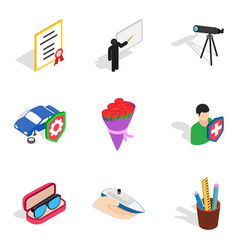 Great job icons set isometric style vector